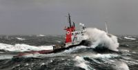 Tug 'Retriever' in rough weather south of South-Africa, on her way to Trinidad