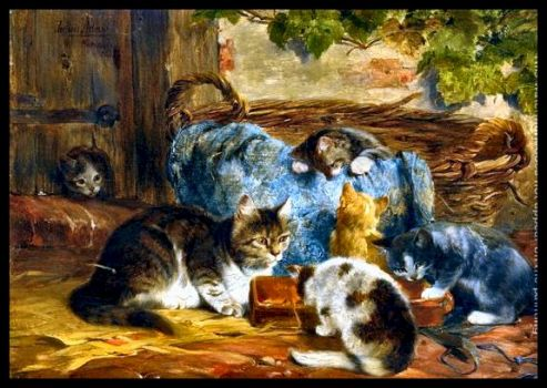 The Kitten's Supper by Julius Adam (1852-1913)