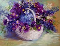 Blue Flowers in White Basket