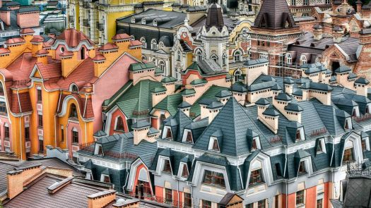 Roofs in Kiev, Ukraine