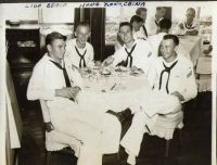 Shipmate buddies in Hong Kong Lido Beach - 1953