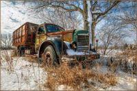 Old truck in winter