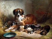 A Bernese Mountain Dog and Her Pups,1862 by Benno Adam