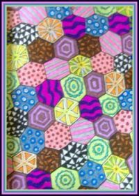 Art - Colouring - Mindfulness Colouring Diary - March - Hexagonal Patchwork (Medium)