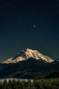 Mount Rainier under a full moon