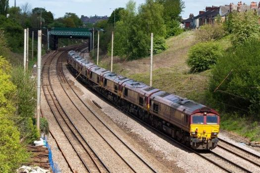 4 class 66s passing near preston.