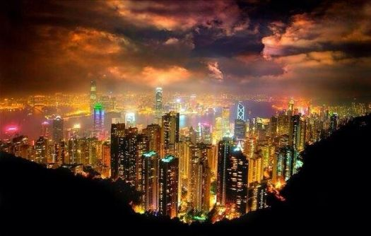Hong Kong, China. Beautiful Skyline.