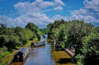 Canal boats on the Grand Union Canal near Daventry, England