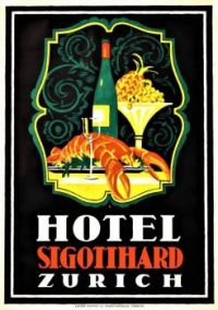 Themes Vintage Travel Poster - Hotel St. Gotthard Zürich
