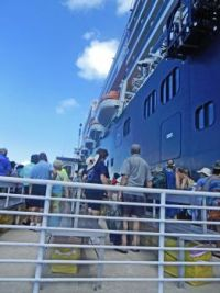 (4) queing to reboard the ship, Caribbean 2018