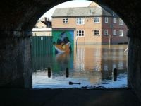 Flooding under the railway bridge, Shrewsbury