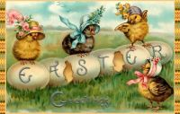 In their Easter Bonnets  Easter Greetings