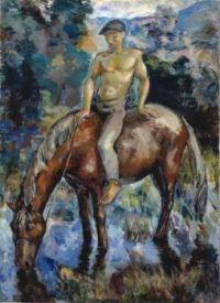 Yrjö Ollila (Finnish, 1887–1932), Watering the Horse (1919)