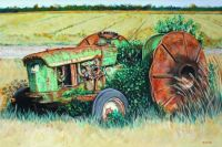 Vintage John Deere Tractor with steel wheels for rice fields