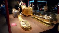 King Tut exhibition, three coffins