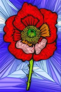 STAINED GLASS FLOWER B64