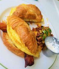 Egg-bacon croissants for breakfast