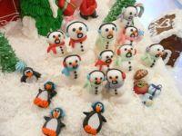 Marzipan snow creatures