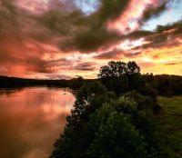 Sunset from the Huguenot Bridge over the James River, Richmond, VA, August 2021