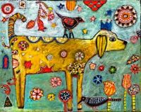Folk Art Dog Painting by Jill Mayberg