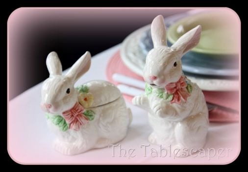 Pair of Easter Bunnies from the Tablescaper