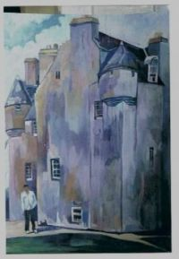 David at Barcaldine Castle. Original painting by Pauline Justine