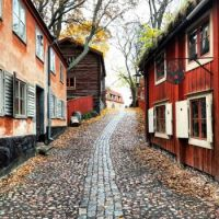 Houses on a street in Skansen, first open-air museum located on Djurgården island in Stockholm, Sweden