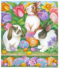 Rabbits, Easter Eggs and Tulips