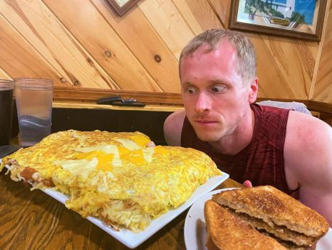 Big Breakfast on vacation - Nathan Klein's food challenge at Toveys Jolly Inn in Germfask, Michigan