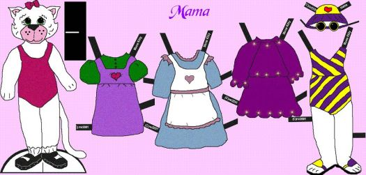 Paper Doll Mama Cat