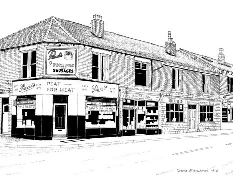 A drawing I did of the shops at Crookes, Sheffield - 1976