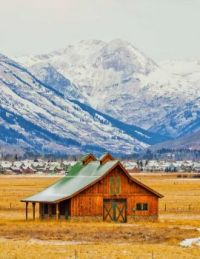 Barn by the Rocky Mountains -- Colorado...