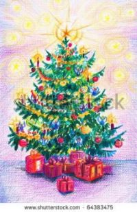 stock-photo-hand-painted-illustration-of-traditional-christmas-tree-64383475