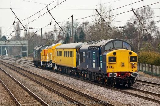 phto of a couple of class 37s with the new snow clearing gear.near preston.photo by a friend