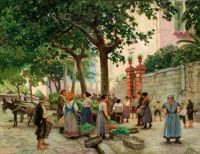 "Paul Gustav Fischer, ""Vegetable Market in Vomero"""