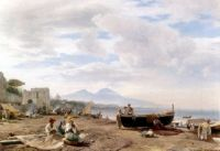 Fishermen on the Amalfi Coast, 1875 by Andreas Achenbach