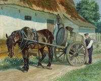 Karl Hansen Reistrup (Danish,1863–1929), A Farmer Preparing his Horsedrawn Cart (1918)