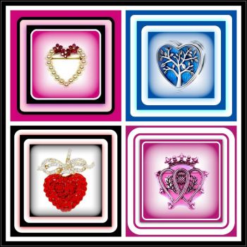 Vintage Heart Brooches