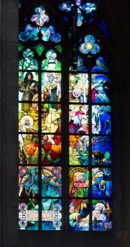 Mucha windows in St. Vitus Cathedral in Prague