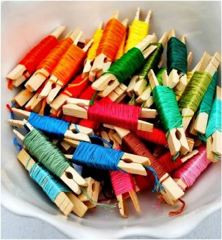 Clothespin Embroidery Thread Organization