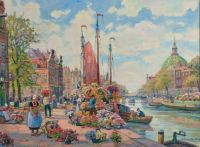 Flower market at Dutch channel by F. Max Richter-Reich