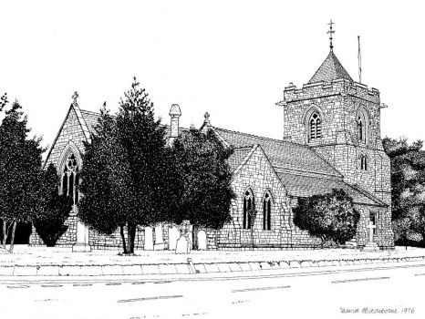 A drawing I did of All Saints Church, Old Waltham - 1976