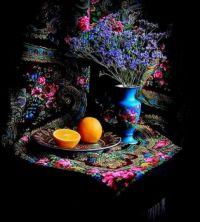 Zátiší s květinami a pomeranči