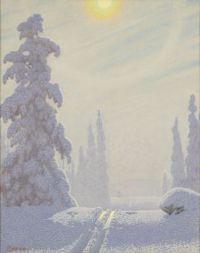 Sparkling winter landscape by Gustaf Fjaestad