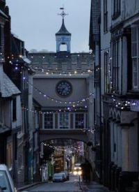 Totnes East Gate and Christmas lights