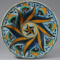 Earthenware Dish with Peacock Feather Pattern, Italian, about 1470–1500