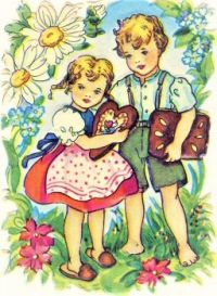 Themes Vintage illustrations/pictures - German Die-Cut of Hansel and Gretel