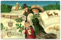 Victorian family taking a winter walk