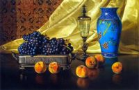 Edward C. Leavitt - Still Life with Peaches and Grapes in a Silver Dish