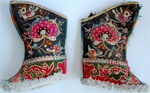 Old Suzani embroidered shoes